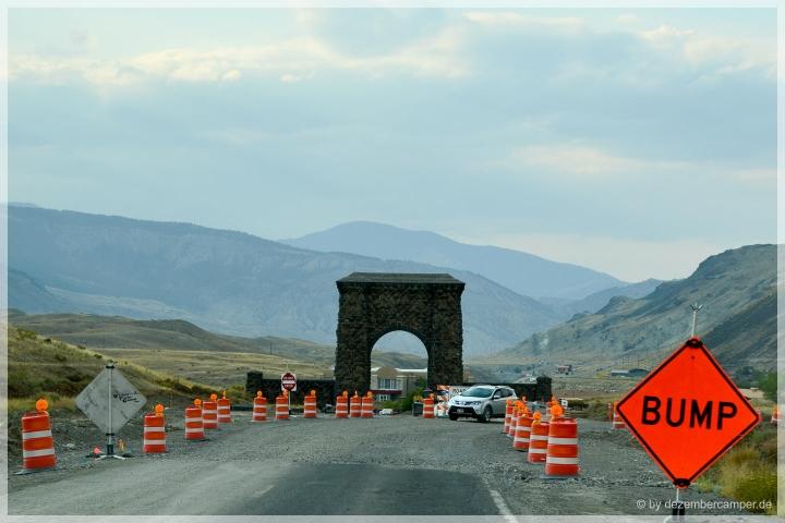Yellowstone NP - Baustelle am Roosevelt Arch